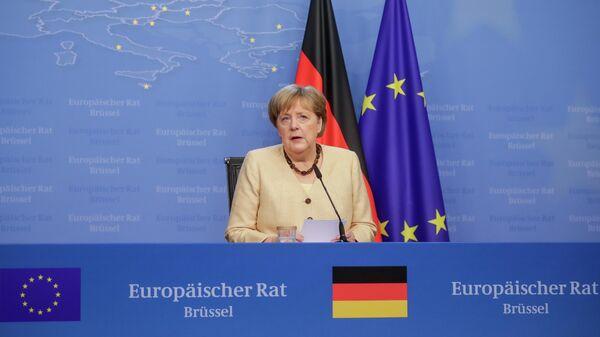Канцлер Германии Ангела Меркель на пресс-конференции во время саммита ЕС в Брюсселе