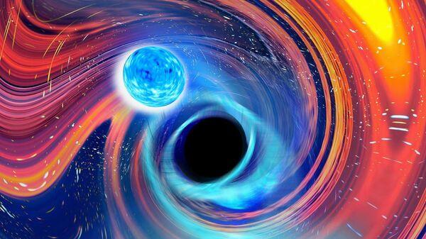 Художественное представление слияния черной дыры и нейтронной звезды