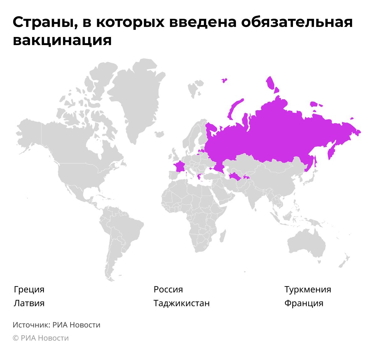 В каких странах введена обязательная вакцинация от COVID-19 desk