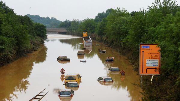 Последствия наводнения в городе Эрфтштадт-Блессем, Германия
