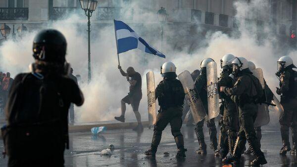 Акция протеста против вакцинации в Афинах, Греция
