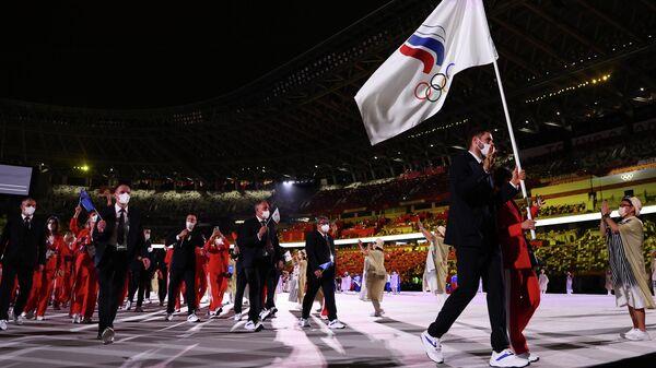 Российские спортсмены на церемонии открытия Олимпийских игр в Токио.