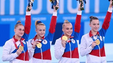 Российские гимнастки Лилия Ахаимова, Виктория Листунова, Ангелина Мельникова и Владислава Уразова