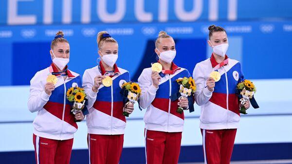 Российские спортсменки, завоевавшие золотые медали в командном многоборье среди женщин на соревнованиях по спортивной гимнастике на XXXII летних Олимпийских играх в Токио