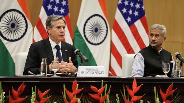 Госсекретарь США Энтони Блинкен и министр иностранных дел Индии Субраманьям Джайшанкар во время пресс-конференцию в Нью-Дели