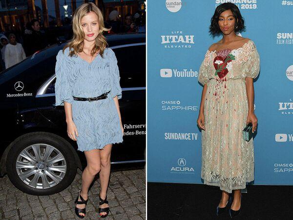 Джорджия Мэй Джаггер и Джессика Уильямс в платьях от российского дизайнера Alena Akhmadullina