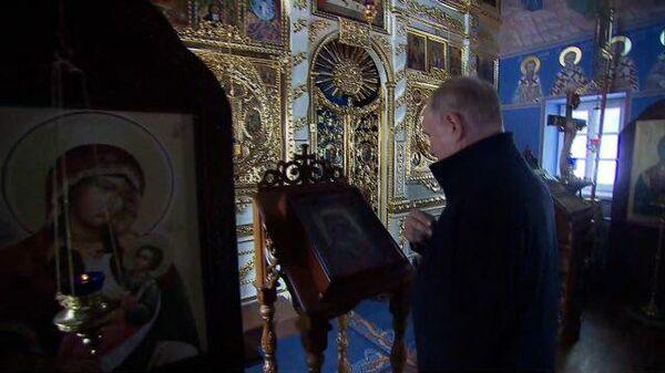 Путин посетил скит Коневской иконы Божьей матери на Ладоге