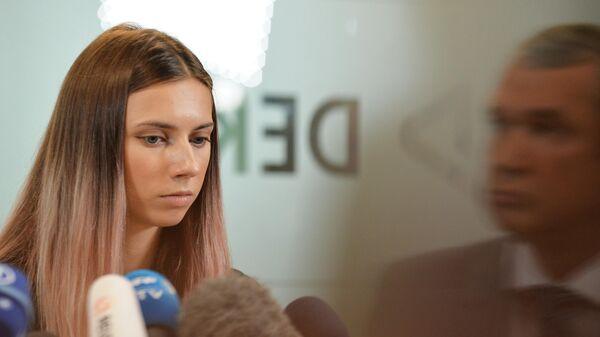Белорусская легкоатлетка Кристина Тимановская во время пресс-конференции в Варшаве