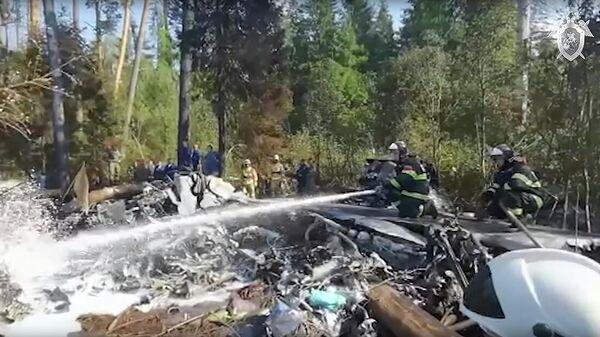 Место крушения самолета Ил-112В в Подмосковье. Кадр видео
