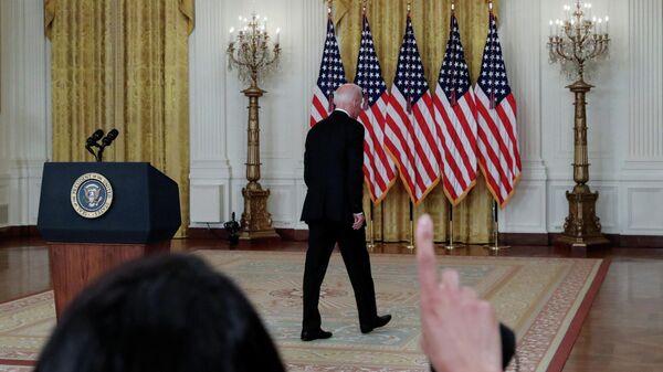 Президент США Джо Байден после выступления с заявлением по ситуации в Афганистане