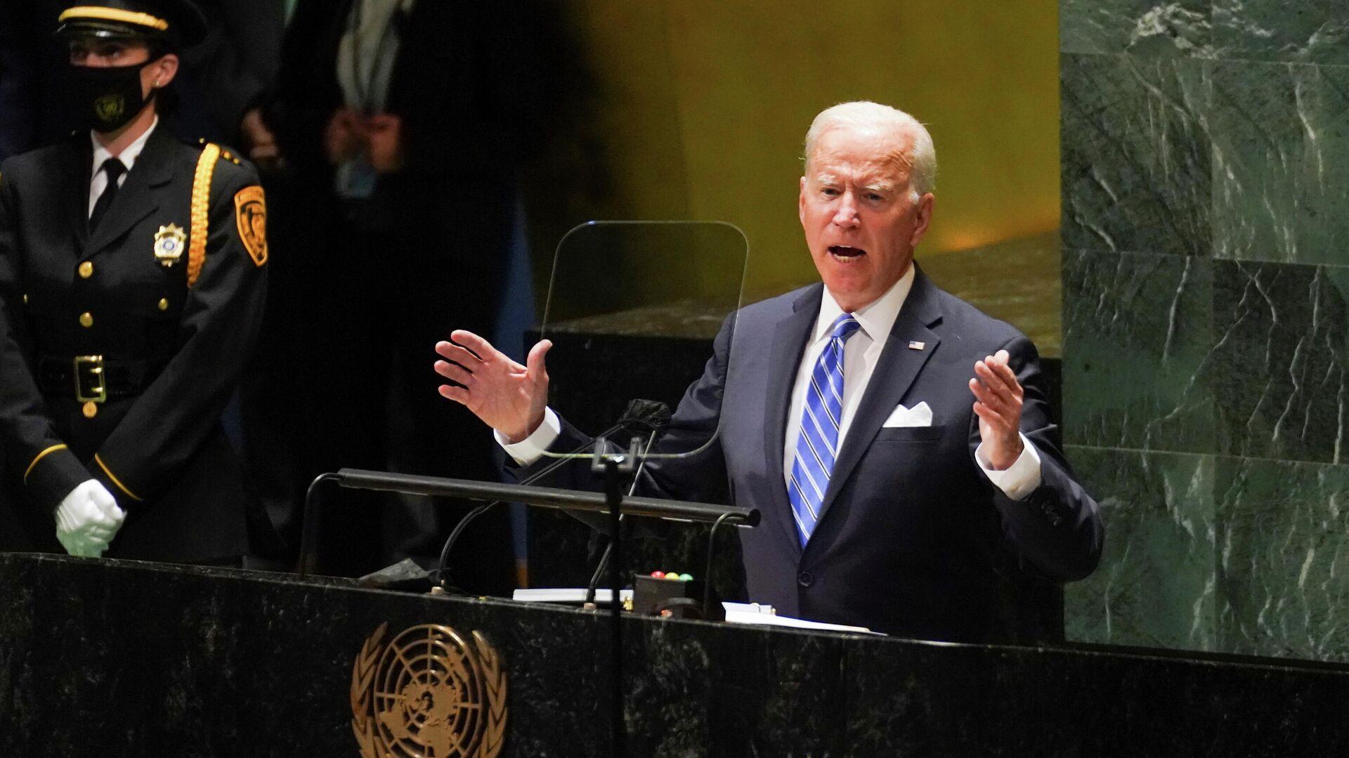 Президент США Джо Байден выступает на сессии Генеральной Ассамблеи ООН в Нью-Йорке - РИА Новости, 1920, 21.09.2021