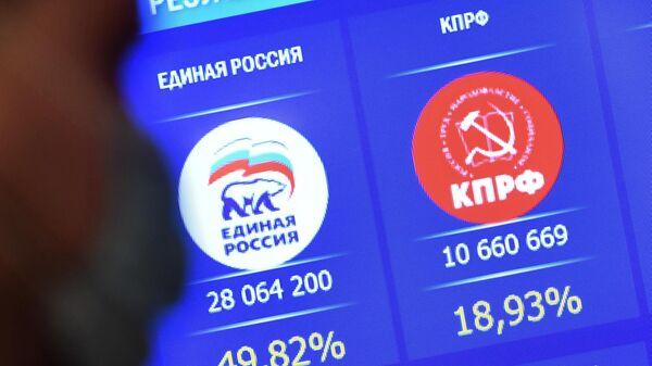 Экран в Центральной избирательной комиссии РФ с результатами выборов в Государственную Думу РФ 8-го созыва