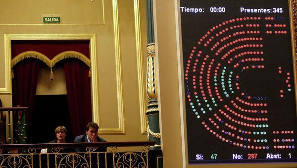 Результаты голосования по ходатайству Каталонии о проведении референдума о независимости в испанском парламенте в Мадриде. 8 апреля 2014