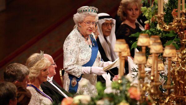 Королева Великобритании Елизавета Вторая произносит речь в честь визита президента Ирландии Майкла Хиггинса