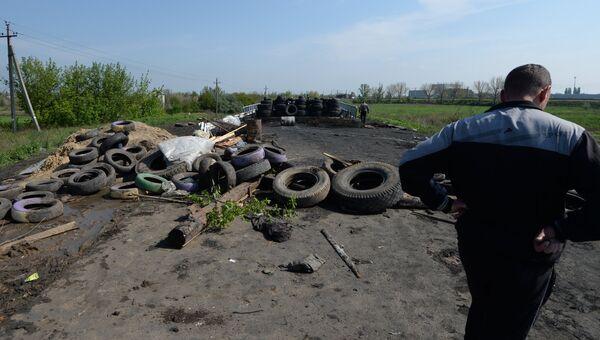 Блокпост народного ополчения в селе Андреевка в Донецкой области