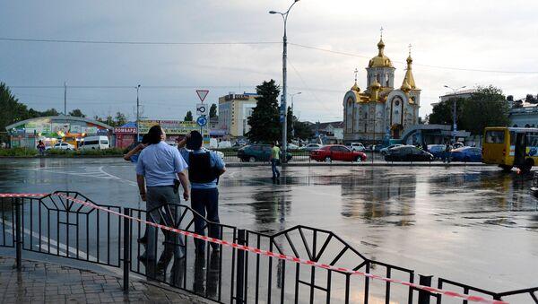 Площадь перед железнодорожным вокзалом в Донецке. Архивное фото