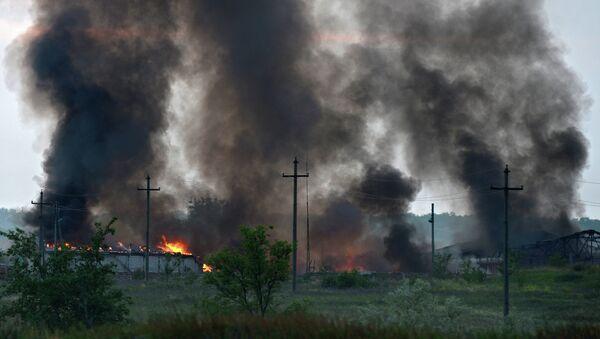 Пожар на складе боеприпасов в воинской части на территории города Александровска Луганской области