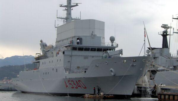 Разведывательный корабль Военно-морских сил Италии Элеттра. Архивное фото