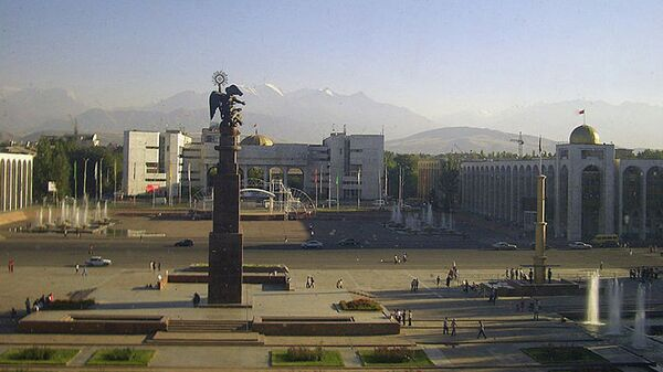 Вид на площадь Ала-Тоо в Бишкеке.Архивное фото