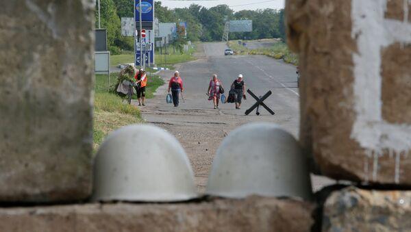 Блокпост бойцов народного ополчения возле Краматорска