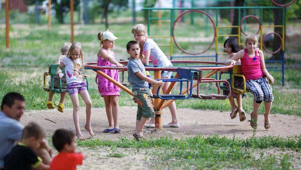 Беженцы из Украины на турбазе Волжская в Волгоградской области. Архивное фото