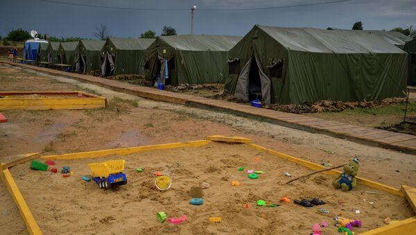 Детские песочницы в лагере для беженцев из Украины в Ростовской области