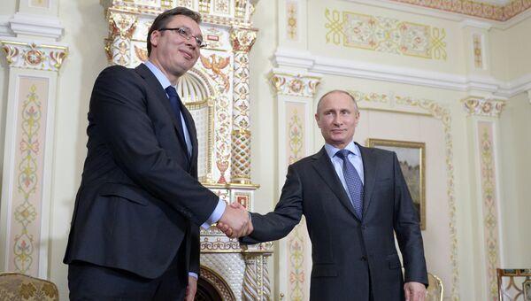 Встреча В.Путина с А.Вучичем. Архивное фото