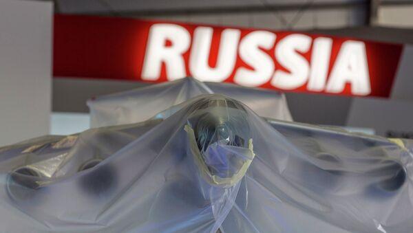 Российская модель самолета Антонова на авиасалоне Фарнборо