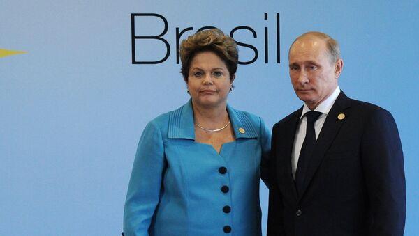 Президент России Владимир Путин и президент Бразилии Дилма Роуссефф