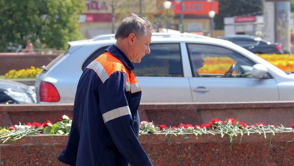 Иван Беседин на месте трагедии в московском метро, архивное фото