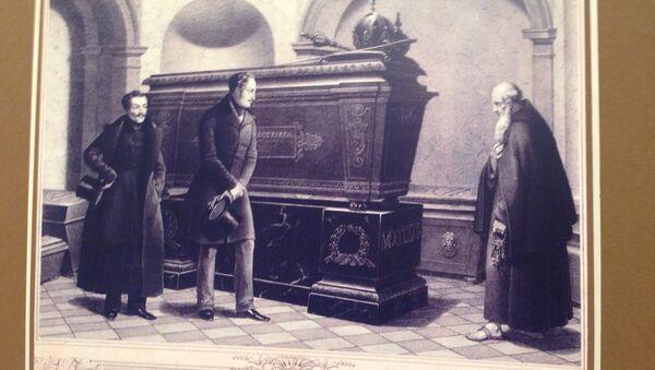 Гравюра 19в Император Николай I у гробницы австрийского императора Франца I