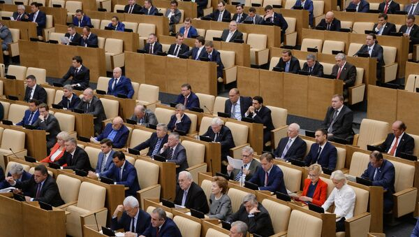 Депутаты на первом пленарном заседании Государственной Думы РФ. Архивное фото