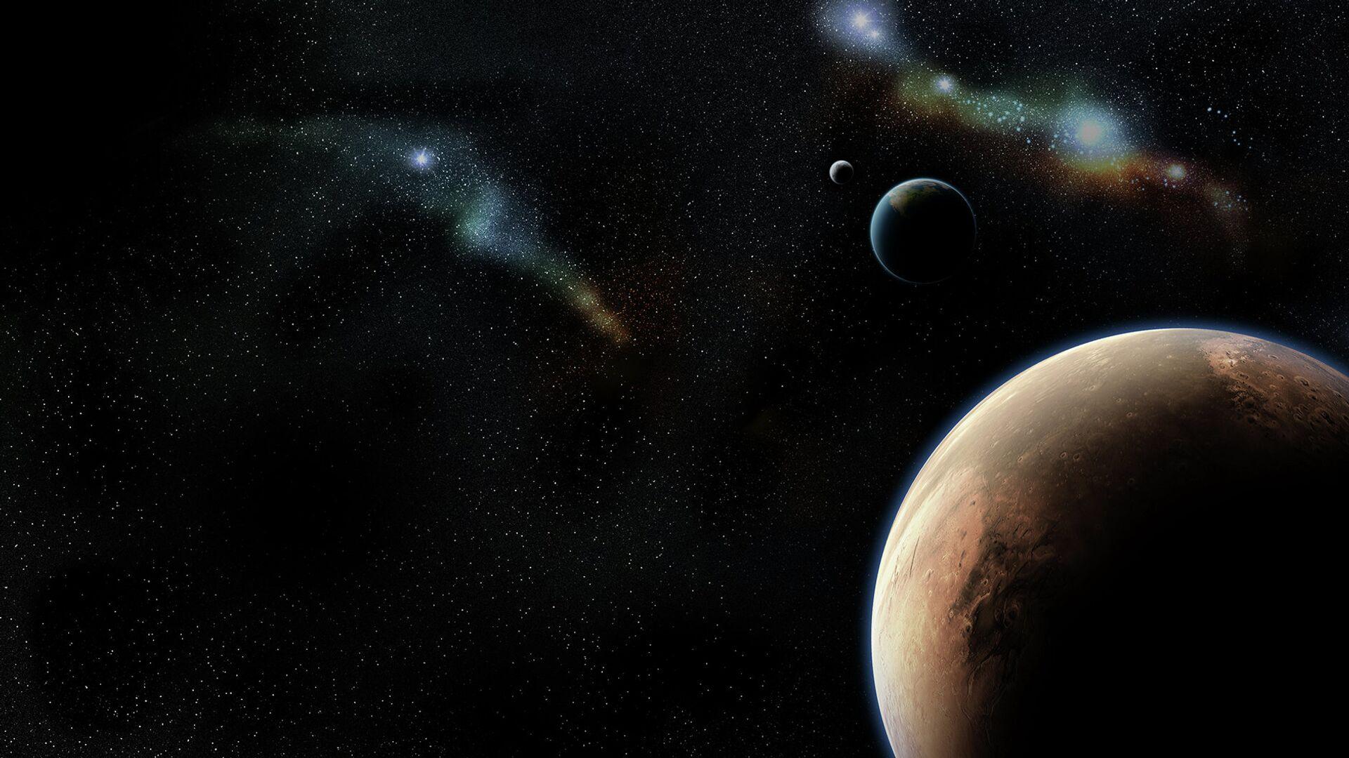 Вид на Марс и Землю, открытый космос - РИА Новости, 1920, 09.04.2021
