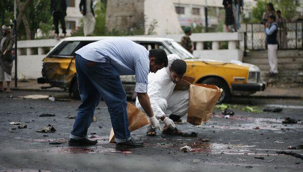 Последствия взрыва в столице Йемена Сане. 9 октября 2014