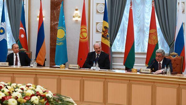 Заседание в узком составе Совета глав государств Содружества Независимых Государств (СНГ) в Минске