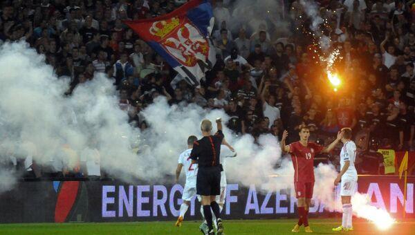 Беспорядки на футбольном матче Сербия - Албания. Архивное фото