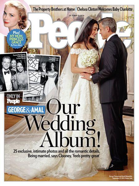 Амаль Аламуддин и Джордж Клуни на обложке журнала People. 2014 год