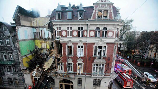 Последствия взрыва газа в центре города Катовице. Польша, 23 октября 2014
