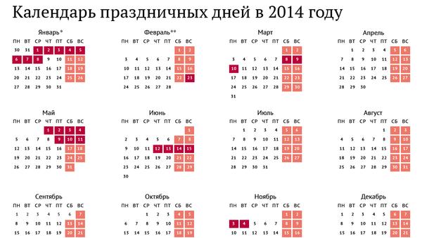 Календарь праздников в 2014 году