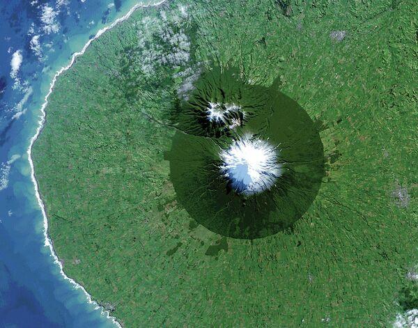 Национальный парк Эгмонт в Новой Зеландии на снимке из космоса