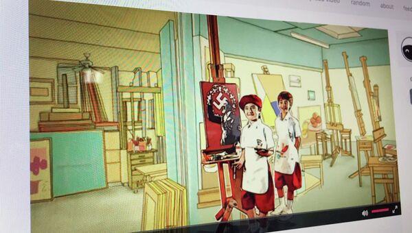 Кадр из обучающего фильма для школьников Таиланда, в котором ребенок рисует портрет Адольфа Гитлера