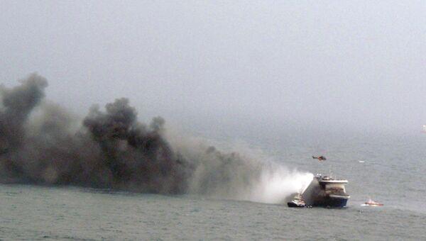 Пожар на пароме Norman Atlantic в Ионическом море. Архивное фото