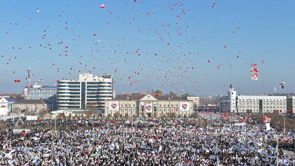 Акция протеста против публикаций, оскорбляющих Пророка Мухаммеда в Грозном. Архивное фото