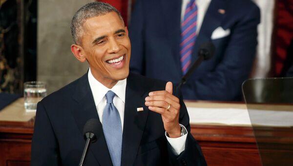 Президент США Барак Обама выступает с ежегодным посланием О положении страны