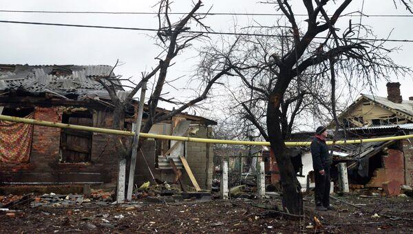 Последствия обстрела Донецка 4 февраля 2015