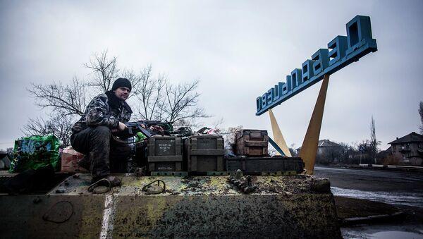 Солдат армии Украины в Дебальцево. Февраль, 2015