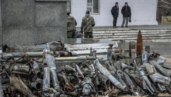 Осколки снарядов выпущенных украинской стороной по городу Первомайск, Луганская область
