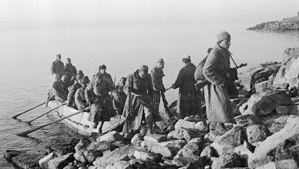 Высадка десанта на Днепре в районе Меловой горы