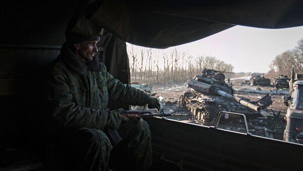 Ополченец Донецкой народной республики в окрестностях Дебальцево