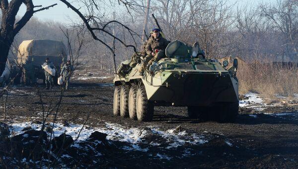 Техника ополченцев Луганской народной республики (ЛНР) в Чернухино. Архивное фото